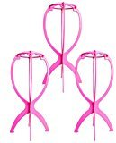 Blisstime Wig Stand Folding Wig Stand,Collapsible Durable Wig Dryer Display Tool,Pack of 3 (Rosy)
