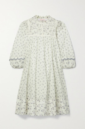 See by Chloe Pintucked Floral-print Cotton Dress - White