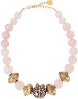 Devon Leigh Rose Quartz & Textured Brass Bead Necklace
