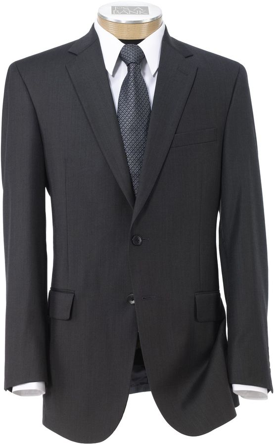 Jos. A. Bank Traveler Tailored Fit 2-Button Suits Plain Front Trousers- Dark Grey Sharkskin