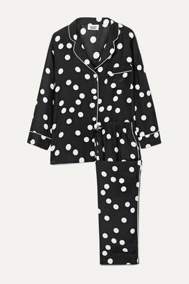 Sleepy Jones Marina Polka Dot Silk-charmeuse Pajama Set - Black