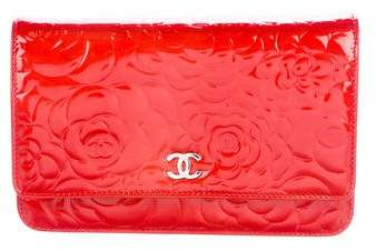 Chanel Patent Camellia Wallet On Chain