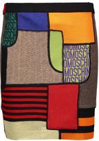 Moschino Patchwork-Effect Paneled Wool Mini Skirt