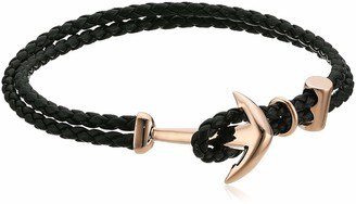 Steve Madden Men's Black Braided Faux Leather Bracelet with Anchor Hook Closure in Rose IP Stainless Steel