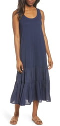 Caslon Mixed Media Drop Waist Maxi Dress