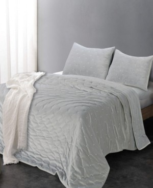 Tadpoles Sleeping Partners Luxe Embroidered Dot Microfiber Velvet 3 Piece Quilt Set