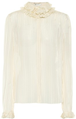 Saint Laurent Striped lamA silk-blend top
