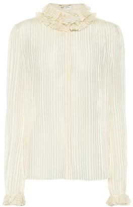 Saint Laurent Striped lame silk-blend top