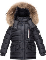 Moncler Boys' Lilian Hooded Puffer Coat, Navy, Size 4-6