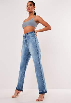 Missguided Light Blue Wrath Highwaisted Split Hem Jeans
