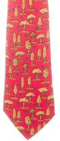 Hermes Forrest Print Silk Tie