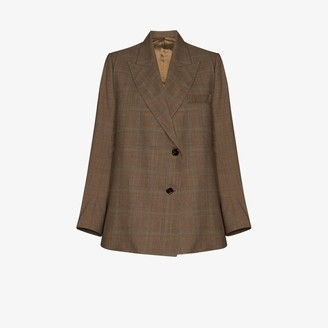 Eftychia Checked Double-Breasted Blazer