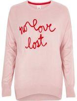 River Island Womens Pink knit 'no love lost' slogan sweater