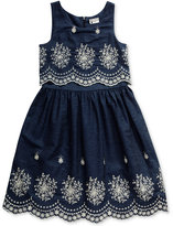 Sweet Heart Rose Cotton Eyelet & Denim Popover Dress, Big Girls (7-16)