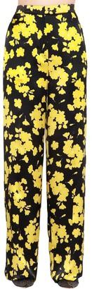 Rochas High Waist Floral Silk Satin Pants