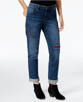 Style&Co. Style & Co. Flannel Patch Cuffed Boyfried Jeans, Only at Macy's