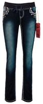 Seven7 Girls' Knit Waist Embellished Skinny Jean - Blue 8