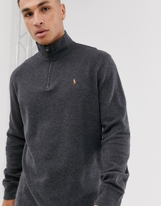 Polo Ralph Lauren half zip knitted jumper in grey marl with multi player logo