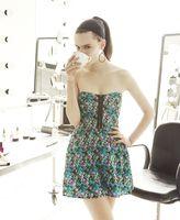 Material Girl Romper, Strapless Sweetheart Floral Printed Zipper A-Line Skort