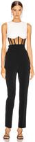 David Koma Corset Midriff Jumpsuit in Black & White | FWRD