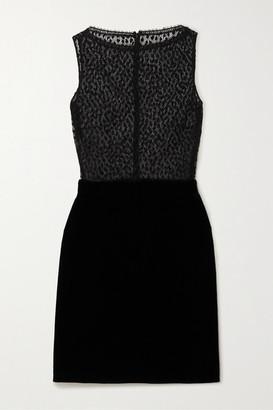 Givenchy Cotton-blend Lace And Velvet Mini Dress - Black