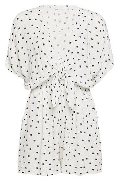 Dorothy Perkins Womens Ivory Spot Print Knot Front Playsuit, Ivory