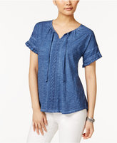 Style&Co. Style & Co Cotton Ruffled Peasant Top, Created for Macy's