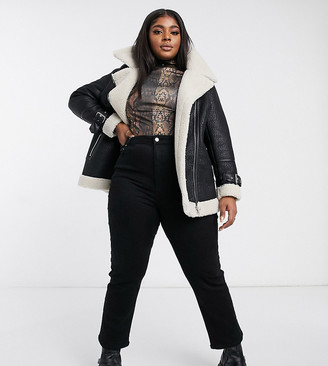 New Look Plus New Look Curve faux fur lined contrast aviator jacket in black