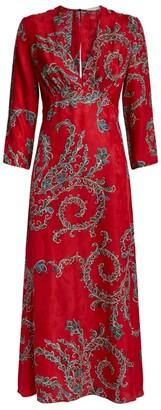 Sandro Long Print Dress