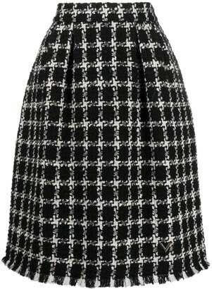 Valentino Houndstooth Check Skirt