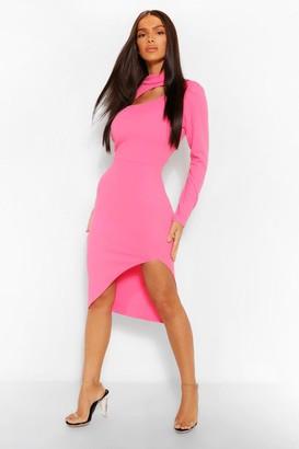 boohoo High Neck Cut Out Midi Dress