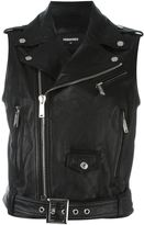 DSQUARED2 sleeveless classic leather jacket