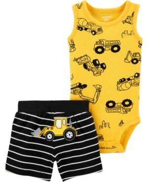 Carter's Baby Boys 2-Pc. Construction Bodysuit & Stripe Shorts Set