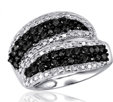 Ice 1 CT TW Round Black and White Diamond Sterling Silver Layered Ring by JewelonFire