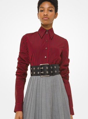 Michael Kors Striped Poplin Scrunched-Sleeve Shirt