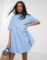 Asos Design DESIGN super oversized frill sleeve smock dress in chambray