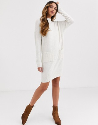 Miss Selfridge jumper dress with pockets in cream