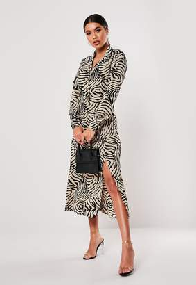 Missguided Brown Zebra Print Button Down Midi Shirt Dress