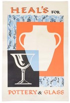 Heal's Poster Pottery & Glass Tea Towel - Orange