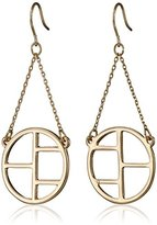 French Connection Geometric Metal Cut-Out French Wire Drop Earrings