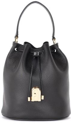 Furla Sleek S Bucket Bag In Black Grained Leather