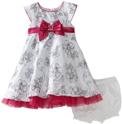 Nannette Baby-girls Infant Shangtung Dress With Floral Print
