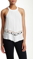 Astr High Neck Crochet Inset Tank Blouse