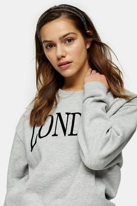 Topshop Womens Petite Grey Marl London Sweatshirt - Grey Marl