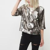 River Island Womens Petite silver sequin grazer top