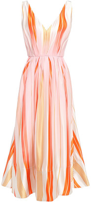 Roksanda Grosgrain-trimmed Striped Silk-organza Midi Dress