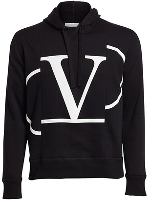 Valentino Cut-and-Sew Logo Cotton Hoodie