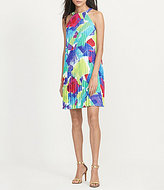 Lauren Ralph Lauren Pleated Halter Printed Trapeze Dress