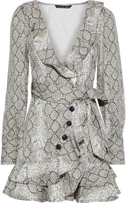 Marissa Webb Eli Wrap-effect Snake-print Cotton-canvas Mini Dress