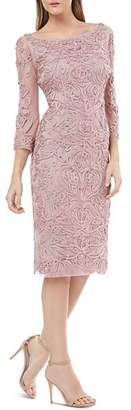 JS Collections Bell Sleeve Embroidered Sheath Dress